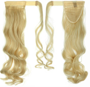 60cm Curly Bleach Blonde hook and loop Straps Around on Ponytail Clip in Hair Extensions Hairpiece Pony Tail