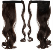60cm Curly Medium Brown hook and loop Straps Around on Ponytail Clip in Hair Extensions Hairpiece Pony Tail