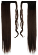 70cm Straight Medium Brown hook and loop Straps Around on Ponytail Clip in Hair Extensions Hairpiece Pony Tail