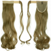 60cm Curly Ash Blonde hook and loop Straps Around on Ponytail Clip in Hair Extensions Hairpiece Pony Tail