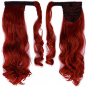 60cm Curly Dark Red hook and loop Straps Around on Ponytail Clip in Hair Extensions Hairpiece Pony Tail