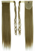70cm Straight Ash Blonde hook and loop Straps Around on Ponytail Clip in Hair Extensions Hairpiece Pony Tail