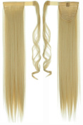 70cm Straight Bleach Blonde hook and loop Straps Around on Ponytail Clip in Hair Extensions Hairpiece Pony Tail