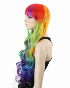 Weeck Long Curly Wavy Women Red Green Lolita Party Cosplay Wig