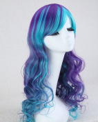 Weeck Long Curly Wavy Women Purple Blue Lolita Party Cosplay Wig