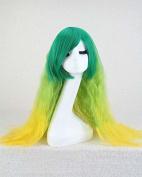 Weeck Long Curly Wavy Rainbow Yellow Green Lolita Party Cosplay Wig