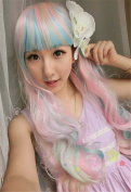 Weeck Long Curly Multicolor Heat Resistant Wave Party Lolita Cosplay Wig