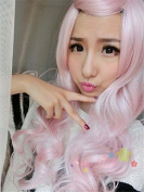 Weeck Long Curly Light Pink Heat Resistant Wave Party Lolita Cosplay Wig