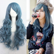 Weeck Long Curly Blue Wave Party Lolita Girls Cosplay Wig
