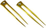 JWL (2) Gold Aluminium Two Prong Straight 15cm Hair Forks Pick Pic Pin Fork - Hawaiian Style
