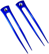 JWL (2) Blue Aluminium Two Prong Straight 15cm Hair Forks Pick Pic Pin Fork - Hawaiian Style
