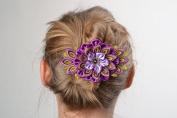 Beautiful Kanzashi Flower Hair Slide Hand Made of Satin and Brocade Ribbons