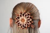 Beautiful Kanzashi Flower Hair Clip Hand Made of Satin and Rep Ribbons