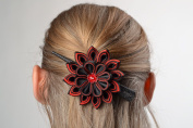 Black and Red Designer Kanzashi Flower Hair Clip Hand Made of Satin and Rep Ribbons