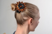 Handmade Scrunchy with Black and Orange Kanzashi Flower Hair Accessory