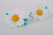 Set of Handmade Foamiran Fabric Flower Hair Ties 2 Pieces Camomiles and Forget-me-nots
