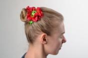 Beautiful Handmade Volume Fabric Flower Hair Tie Red Poppy
