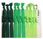 """Hair Ties Ponytail Holders - 20 Pack """"Green Ombre"""" Green Neon Green Forest Green White No Crease Ouchless Elastic Styling Accessories Pony Tail Elastics Holder Ribbon Bands - By Kenz Laurenz"""