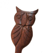 Carved Pertched Owl Sono Wood Hair Stick