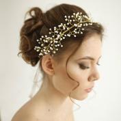 HailieStudio Handmade Women's Pearl Wired Wedding Headpiece, Pearl Wedding Tiara, Crown, Pearl Golden Wedding Headpiece