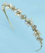 Sophisticated Bridal Wedding Tiara Headband of Rhinestone-Accented Freshwater Pearl, Rhinestone-Encrusted Leaves and Rhinestone Flowers for Wedding, Prom, Quinceañera or Other Special Events