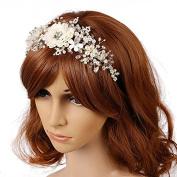 Fashion Wedding Bridal Tiara Crown Headband, Women Wedding Jewellery Pearl Duo Flowers Headbands