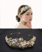 Wedding Jewellery Crystal Rhinestone Pearl Duo Flowers Headband for Women's Vintage Rhinestone Bridal Tiara Crown Headpiece