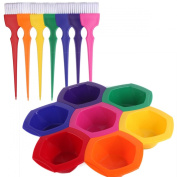 Colourful Hair Dye Brush and Bowl Set, Rainbow Hair Colouring Brush Bowl Set-7 Colour