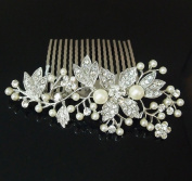 New beautiful elegant wedding bridal hair comb Ivory colour pearl and crystal #1 beautyxyz USA seller