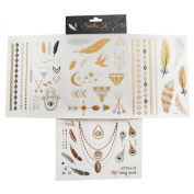 StellaK Temporary Metalic Tattoo - 4 Sheets of Fashion Hena Bling Tattoos