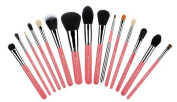 Jessup Professional 15pcs Makeup Brushes Set Powder Foundation Eyeshadow Concealer Eyeliner Lip Brush Tool Pink/silver