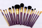 Jessup Professional 15 Pcs Makeup Brushes Set Powder Foundation Eyeshadow Eyeliner Lip Brush Tool Purple/ Gold