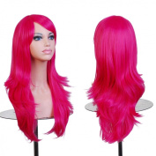 Besgo® 70cm Heat Resistant Lady Cosplay Wig with Wig Cap Rose Red