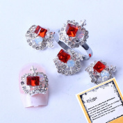 Big Red Rhinestone Crown Designed Ladies beauty box New Rainbow Crystal Series Nail Art Decorations + A Unique Ring free Gift
