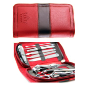 PUEEN All In One 11pc Stainless Steel Manicure & Pedicure Kit, Travel & Grooming Set, Personal Care Tools in Red Vegan Leather Case - Introduction price!-BH000186
