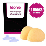 Leonie Konjac Sponge Duo Pack. 100% Natural Sponges for Gentle Exfoliation & Skin's pH Balance. Eco and Vegan friendly skin care.