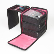 Seya 3 Piece Black Foldout Nail Polish Storage Station Set Holds 75 Bottles