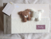 Cute Handmade Baby Slip in Fabric 15cm x 10cm Photo Album with Teddy & Bunny