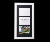 CreativePF 3 Opening Glass Face White Picture Frame to hold 13cm by 18cm Photographs including 25cm x 50cm Black Mat Collage