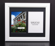 CreativePF 2 Opening Glass Face White Picture Frame to hold 13cm by 18cm Photographs including 25cm x 30cm Black Mat Collage