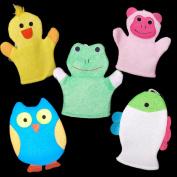 [Set of 5] Cute Baby / Kids Bath Sponge / Mitt / Glove
