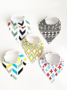 Danha Baby Bandana Teething Bib for infants and toddlers (set of 5). Unisex modern bib for boys and girls.Very absorbent organic cotton