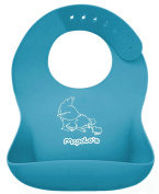 "McPolo's BABYSOFT iBib ® - the ""iPhone"" in Silicone Baby Bib World! - Fitting MORE Growing Babies 3 Mos to PreSchoolers comfortably with Smart Buttons ♥♥♥ TOTAL PORTABILITY - Light, flexible, rolls up easily into .."