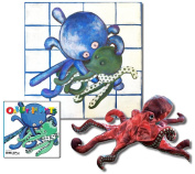 "Oakley the Octopus - Premium Gift Set, Includes ""Oakley in Knots"" Story Book, Folkmanis Puppet, and 46cm X 46cm Canvas Wall Art"
