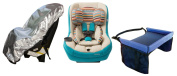 Maxi Cosi Pria 70 Convertible Car Seat in Bohemian Blue with Star Kids Snack & Play Travel Tray and Sun Shade