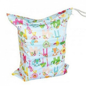 Solid Baby Wet and Dry Cloth Waterproof Nappy Bag,baby Cloth Nappy Bag Portable Storage Bag Animals Prints Double Zippered Changing Pad