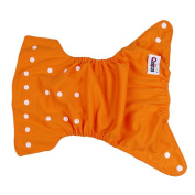 Bigood Baby Cloth Nappy Cover One Size Gussets Snaps Cloth Nappy Cover Orange