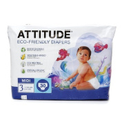 Attitude Eco-Friendly Baby Nappies, Midi, Size 3, 30 ea 1 ea