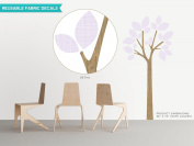 Modern Tree Fabric Wall Decal with Patterned Leaves - Light Purple - 18 Colour Options Available - Non-Toxic, Reusable, Repositionable