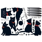 Black Cat Family Wall Sticker Room Bcakground Decor Decal